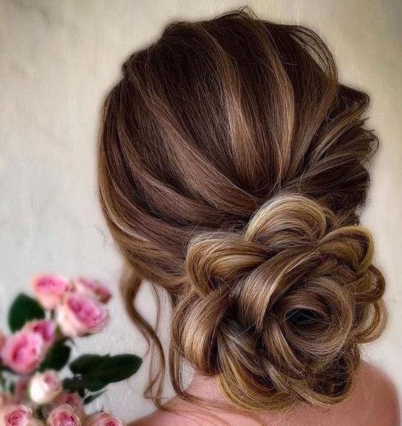 مو شینیون دخترانه با طرح گل